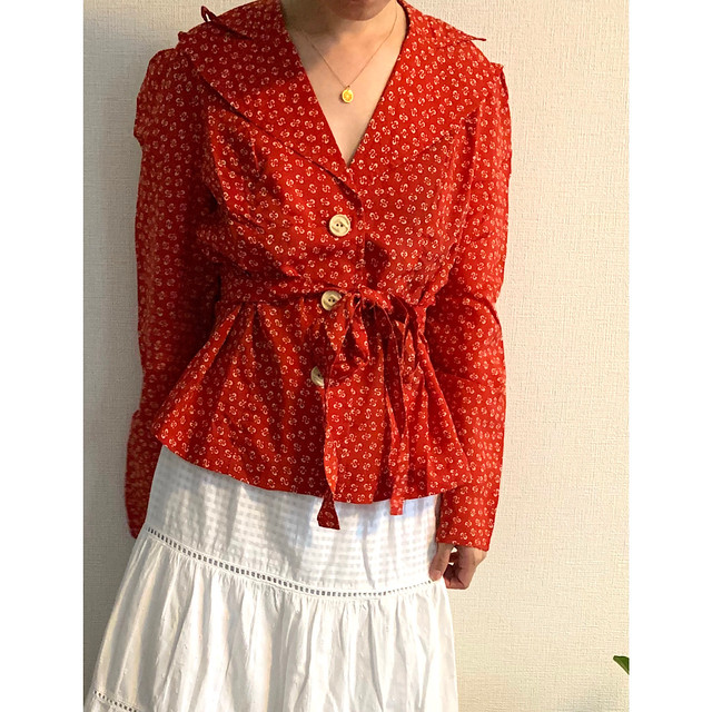 70's vintage fitted blazer Red and white puffy sleeve front buttoned cardigan blouse jacket