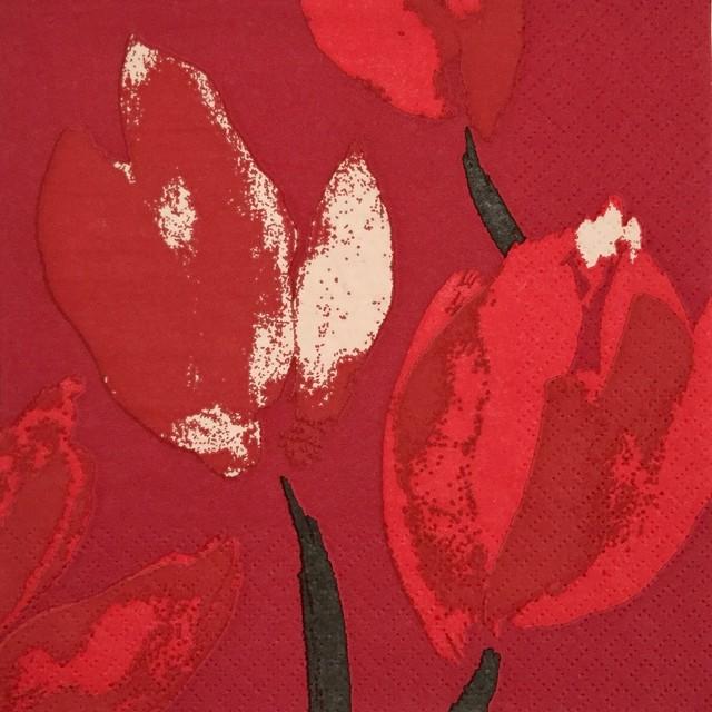 【PENTIK】バラ売り1枚 ランチサイズ ペーパーナプキン TULPPAANI レッド