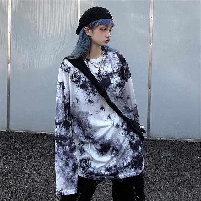 【トップス】ストリート系タイダイシンプル男女兼用長袖Tシャツ34069861