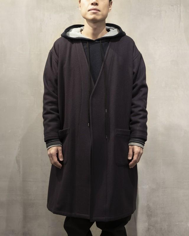 T/f collarless gown coat kersey melton - dark berry