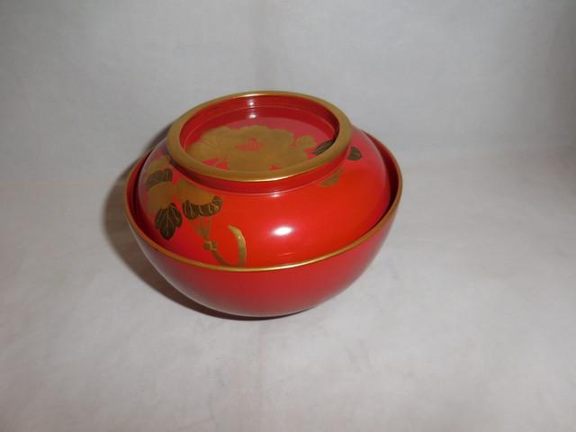 輪島塗の牡丹椀(1客) Wajima lacquer ware Miso soup one cup(peony)