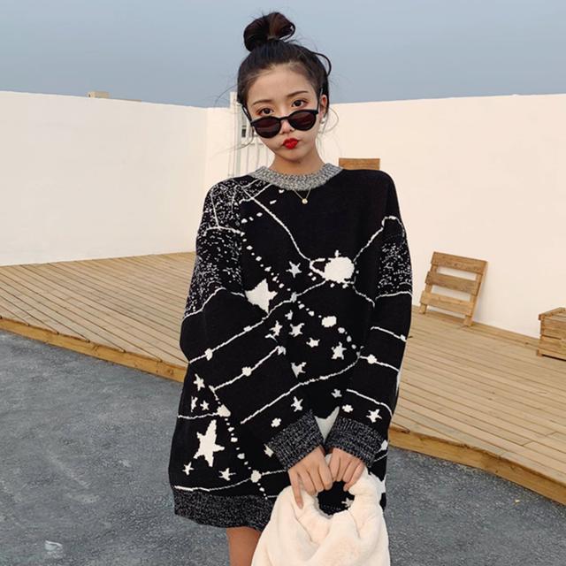 【tops】ファッション配色星プリントルーズラウンドネックセーター