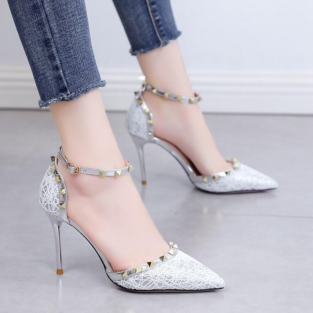 【shoes】パンプスエレガント履き心地よいラメ入りポインテッドトゥハイヒール
