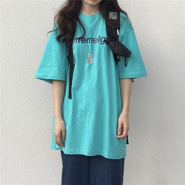 レイクブルーロング丈Tシャツ