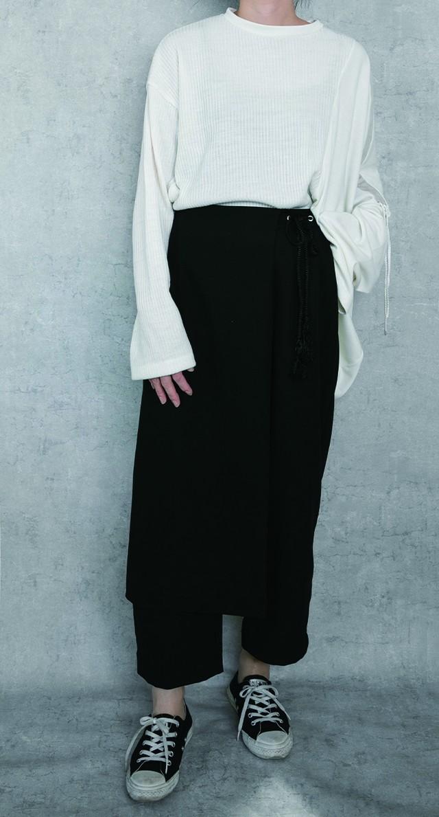 Mat satin pants / Black