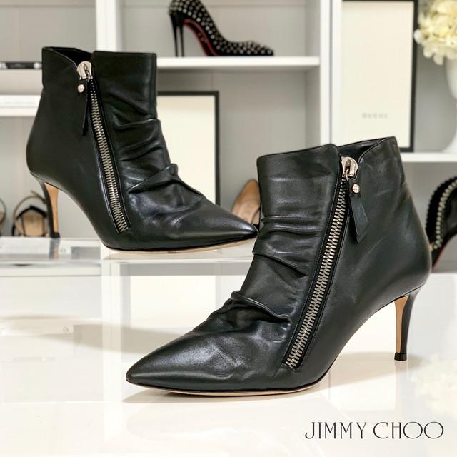 1275 ジミーチュウ レザー ショートブーツ 黒