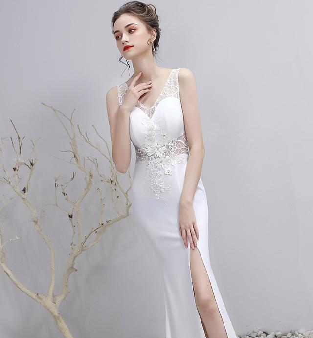 白いイブニングドレス・刺繍ドレス・[YN2042]