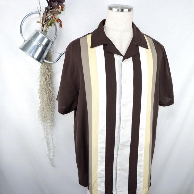 [L] Line Switching Silk Open Collar Shirt | ライン切り替え シルク オープンカラー 半袖シャツ