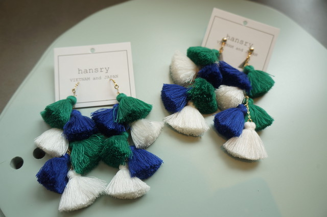 Spark. モロッコタッセルピアス/イヤリング_GREEN&BLUE&WHITE