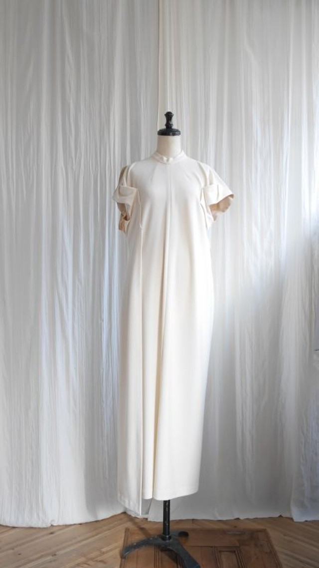 KNITxSATIN DRESS/ OFF WHITE×BEIGE