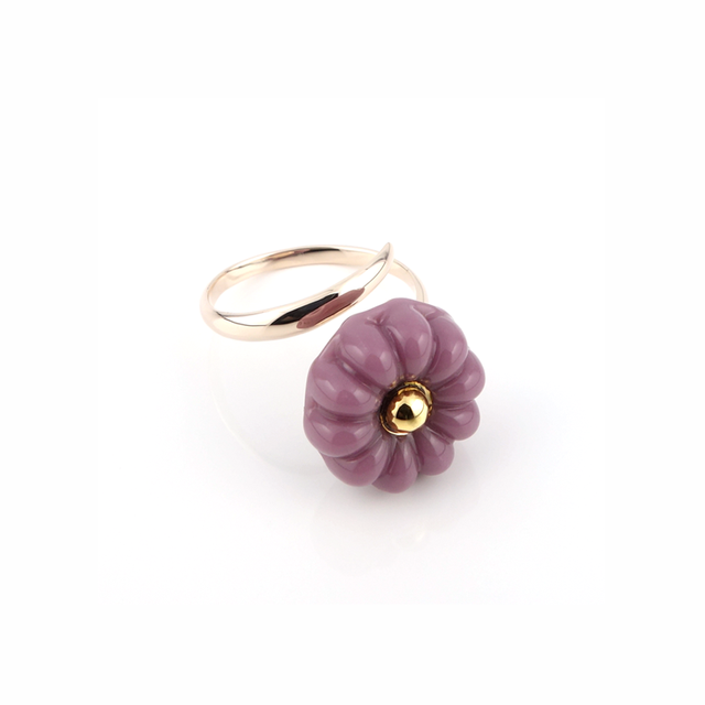 "k10_flower glass_ring ""lilac"""