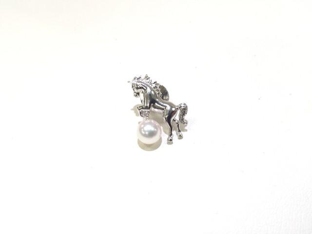 アコヤ真珠ピンブローチ 馬