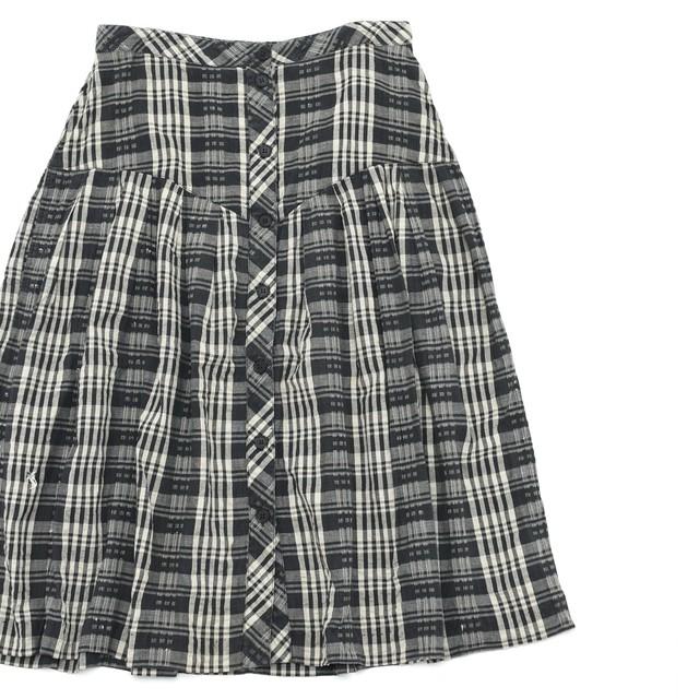 80s JACK WINTER cotton gauze check skirt