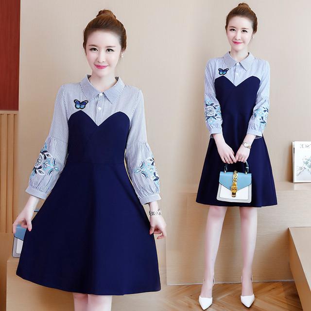 【ELEGANT】ワンピース 切替え ブルー 青い 刺繍 折り襟 長袖 Aライン ドレス 可愛い 大きいサイズ L LL 3L 4L 5L 6L