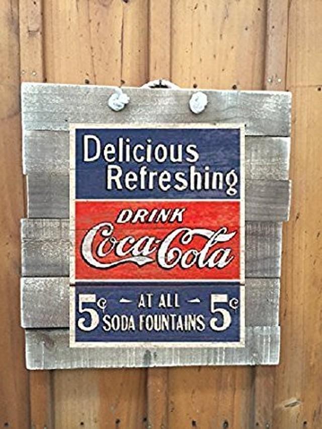 引続きセール主力商品20%OFF!  【ティンプレート】 5c Coca Cola 5セント コカ・コーラ 【ウッドボード付】