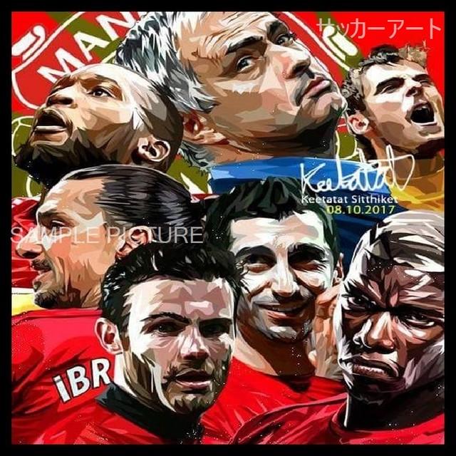 サッカーグラフィックアートパネル マンチェスター・ユナイテッド メンバー 木製 壁掛け ポスター (001-184)