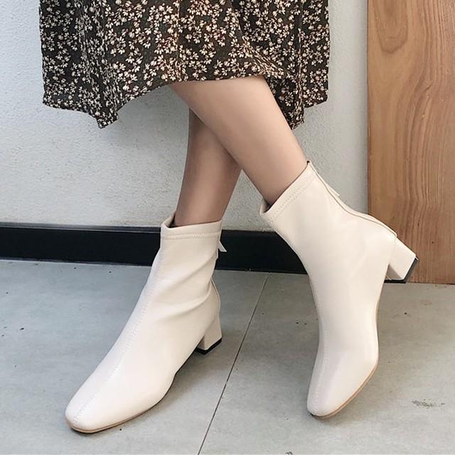 【shoes】きれいめカッコイイファスナー飾りブーツ