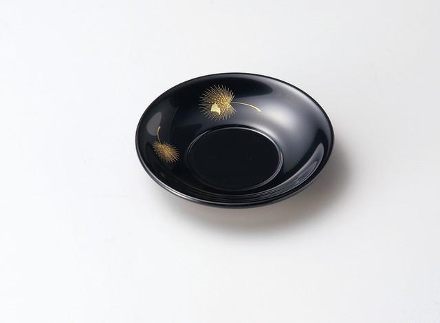 越前塗 沈金飛花 3.0茶托 黒 5枚セット
