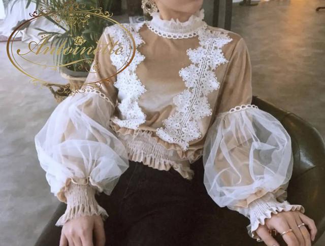 レディース シャツ 可愛い フリル袖 アンガジャント スキッパーカラー シャツ デートコーデ  襟付き インナー プルオーバー カジュアル 無地 盛り袖 パフスリーブ
