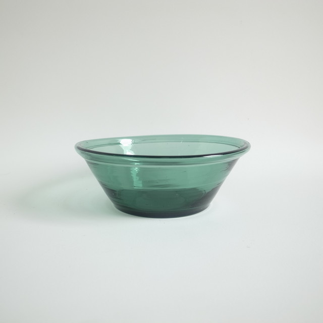 Green glass bowl