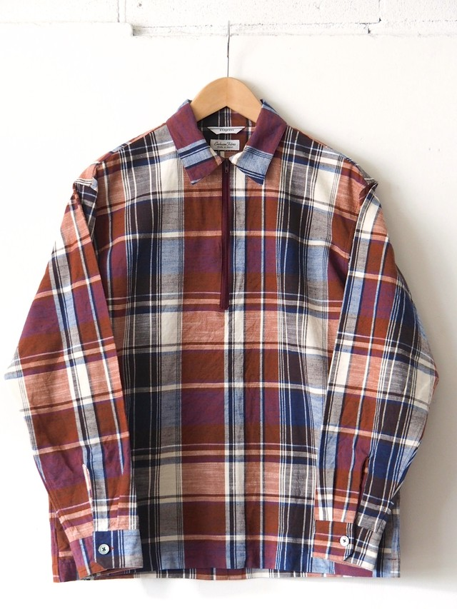 FUJITO Half Zip Shirt Check