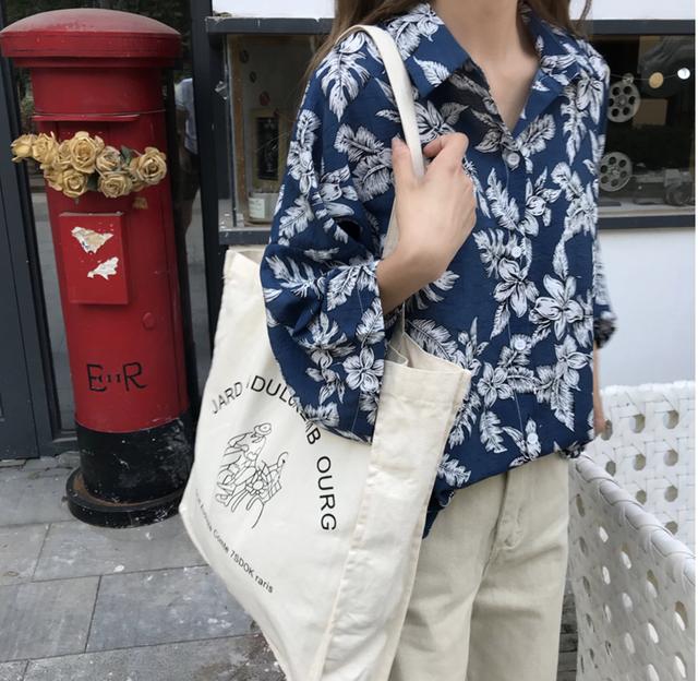 レトロ 花柄 シャツ ブラウス 韓国ファッション