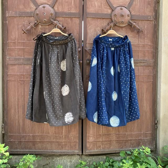 saruche 草木染めブロックプリント パッチワークの巻きスカート