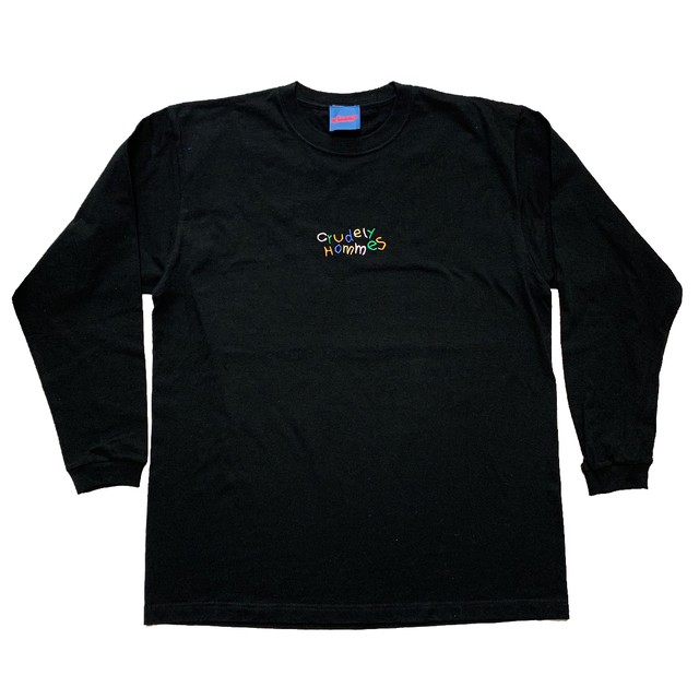 【Crudely Hommes】Rainbow Logo Embroidery Long Sleeve