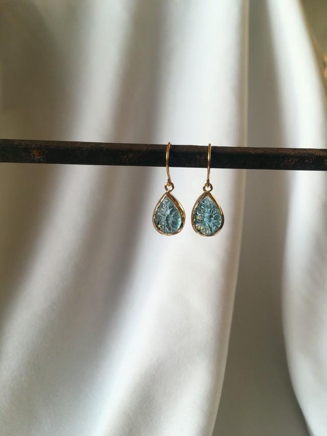 K10 Carving Blue Topaz Earrings drop 10金カービング(彫り)ブルートパーズピアス(イヤリング)ドロップ型