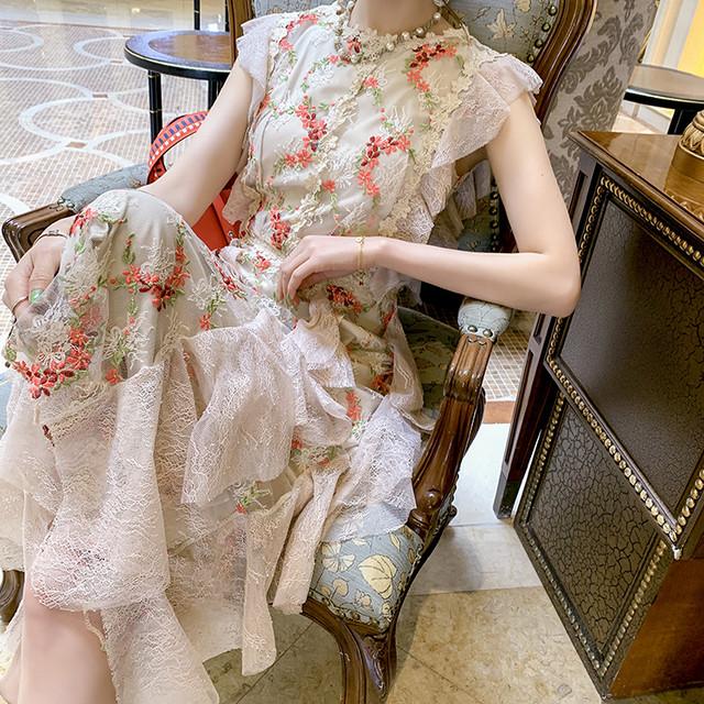 ロマンティック ノースリーブ フリル フラワー刺繡 ロングドレス