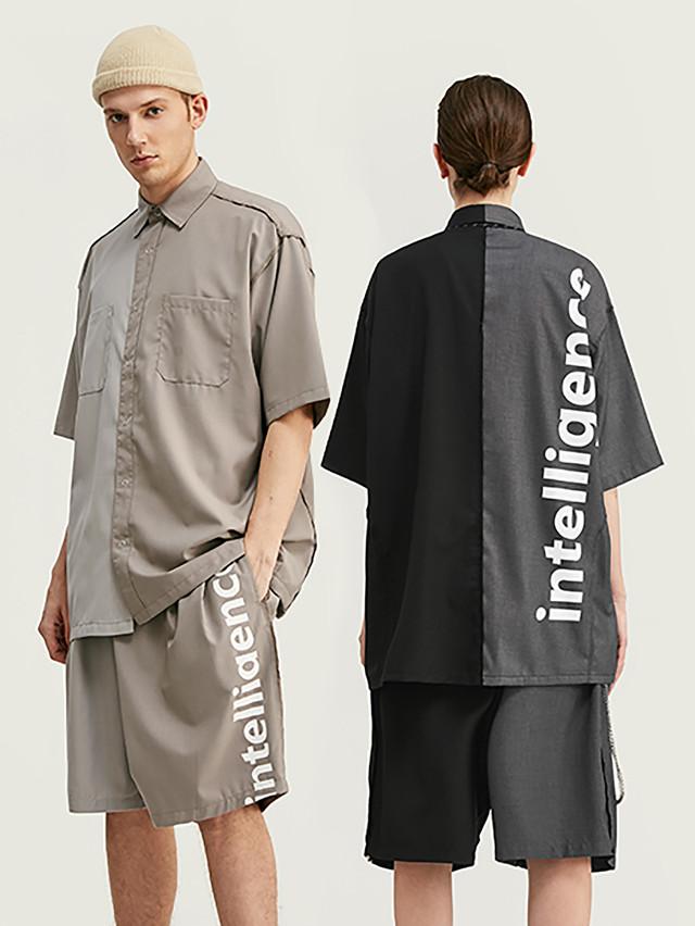 INFLATION【即日出荷】intelligenceバイカラー半袖シャツ