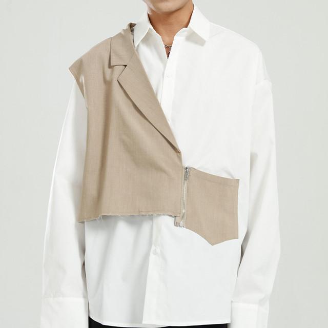 3:AMセレクト ユニセックス アシンメトリーつぎはぎ加工シャツ