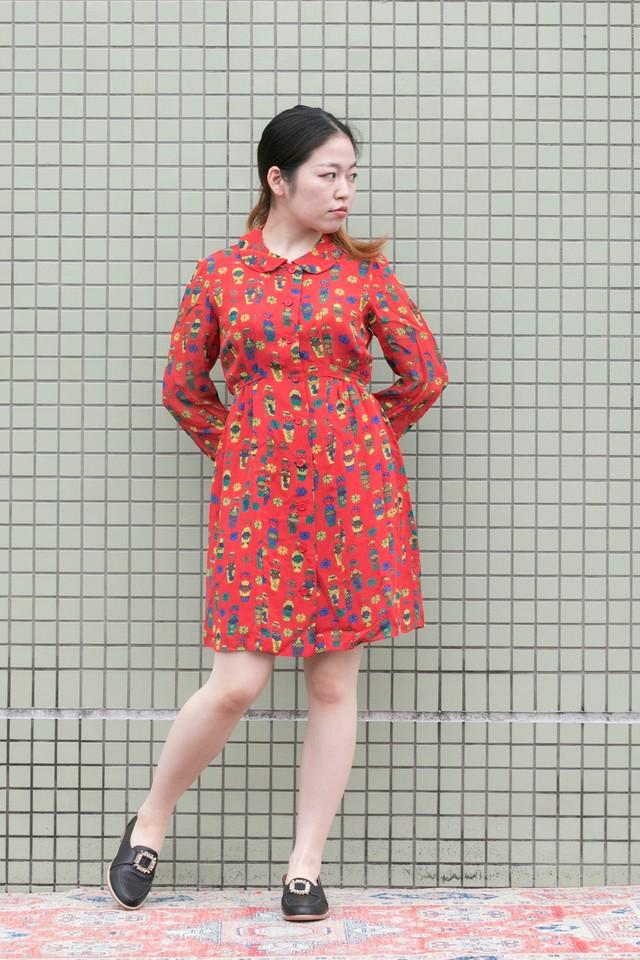 【Jabberwocky】1970's Japanese doll print dress (D749)
