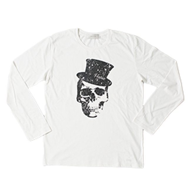 Hat skull Print Long T-shirt(White)