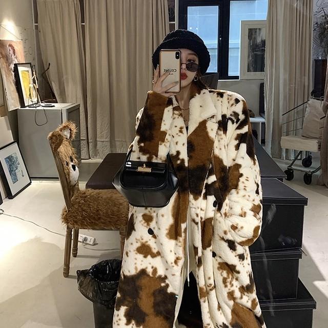 brown cow design long coat