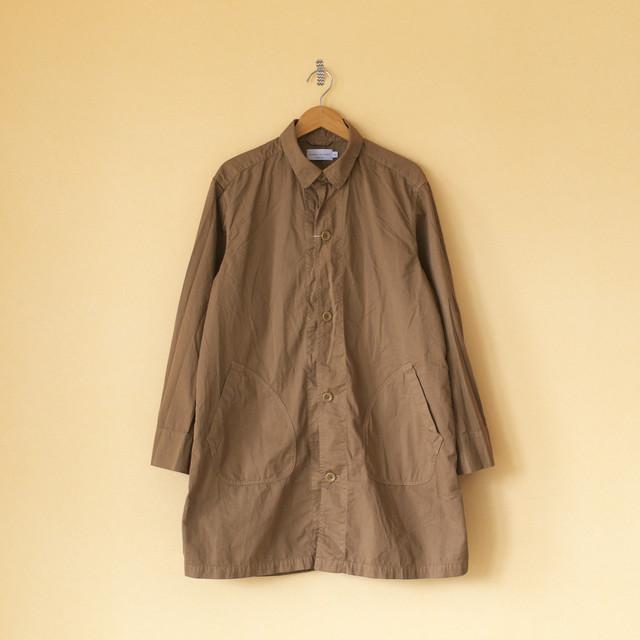 Manual Alphabet マニュアルアルファベット gaberdine overdyed shirt coat 2 製品染めコットンギャバシャツコート2・ブラウン【メンズ】