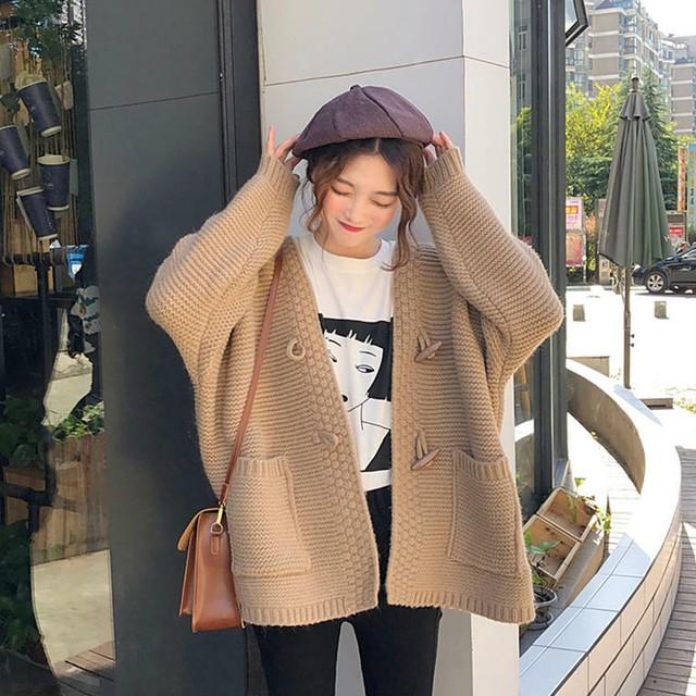 【送料無料】抜け感 カーデ ♡ 大人可愛い きれいめ ざっくり ニット カーディガン コート 羽織り アウター