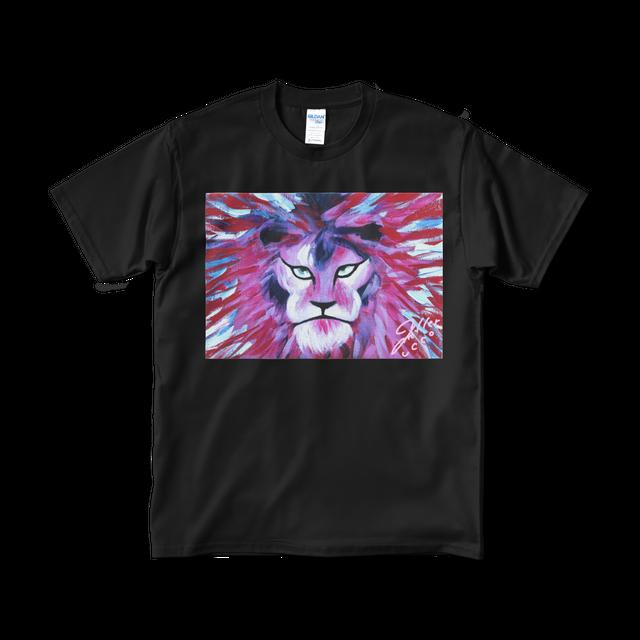Pink Lion Tシャツ:ユッコ・ミラー絵画シリーズ(ブラック)