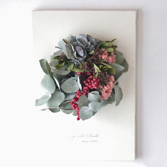 """植物キャンバスL """"ユーカリとペッパーベリーのリース""""【bdfa20052】ドライフラワー"""