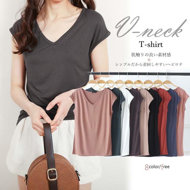 【即納】カットソー vネック tシャツ レディース fa0049