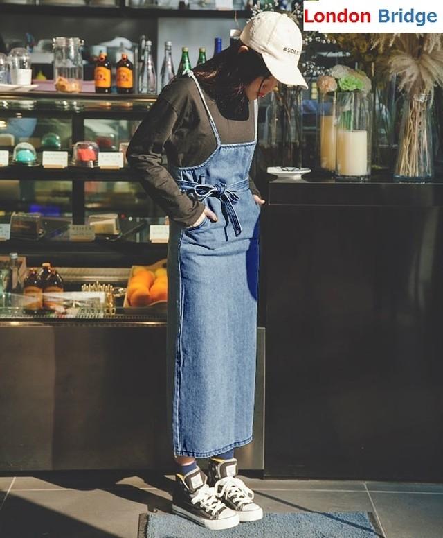 【春秋 デニム ウエストリボン サロペットスカート♪】 ウエスト リボン スリット デニム サロペット ワンピース ジャンパースカート