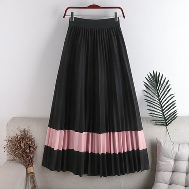 【アパレル・ボトムス】2トーンカラー プリーツスカート・ブラック+ピンク
