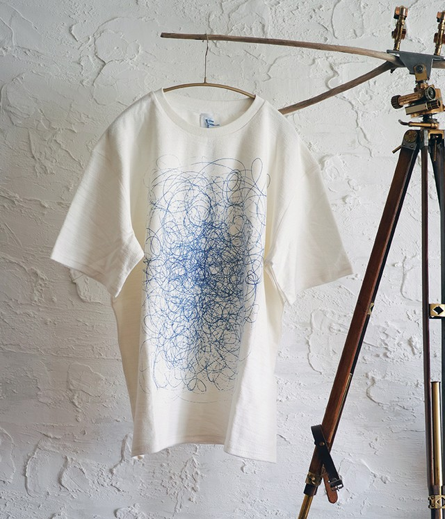 KA WA KEY - PEN SCRIBBLE TERRY T-SHIRTSS19(サイズ特注)- PPBL 01.01 BLUE PEN