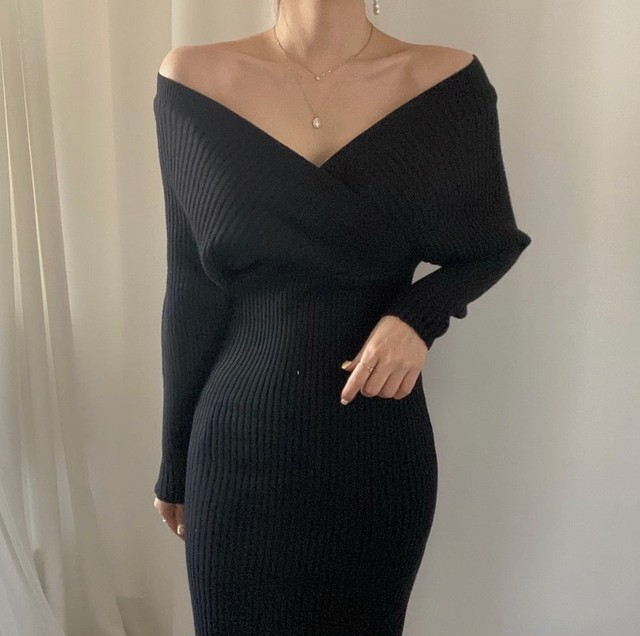 sexy sweater dress 3color