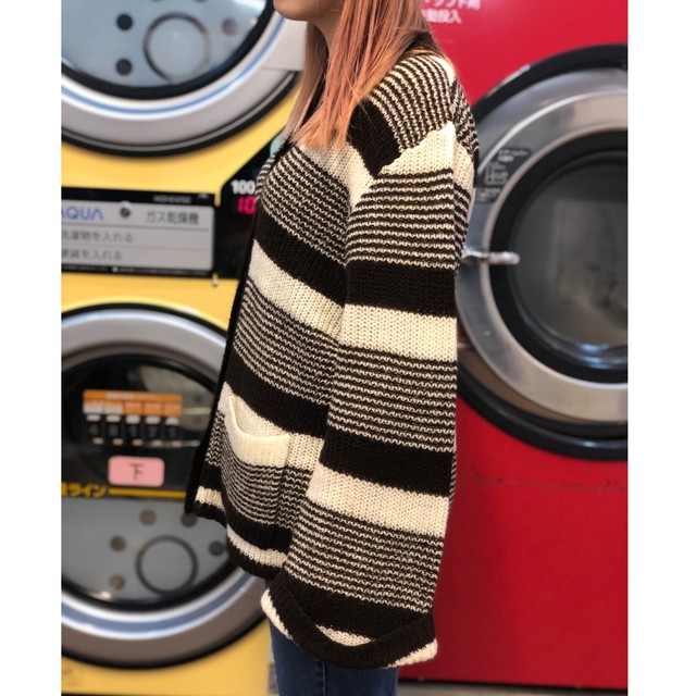 80s border knit cardigan