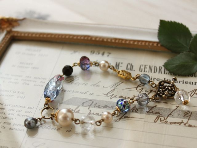 アンティークブルーを集めて。 vintage beads ブレスレット