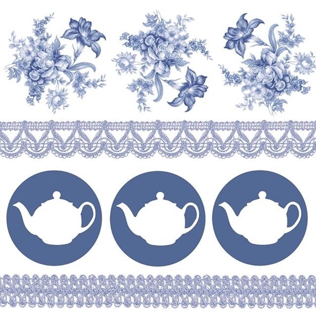 2021春夏新作【Ambiente】バラ売り2枚 ランチサイズ ペーパーナプキン Teapots ブルー