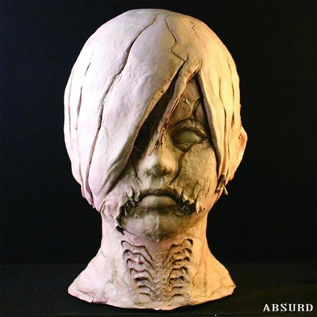【1点物】【超限定】 ABSURD レア ヘッドフィギュア 石粉粘土 オリジナル 高さ26.5cm インテリア ホラー Hadairo San