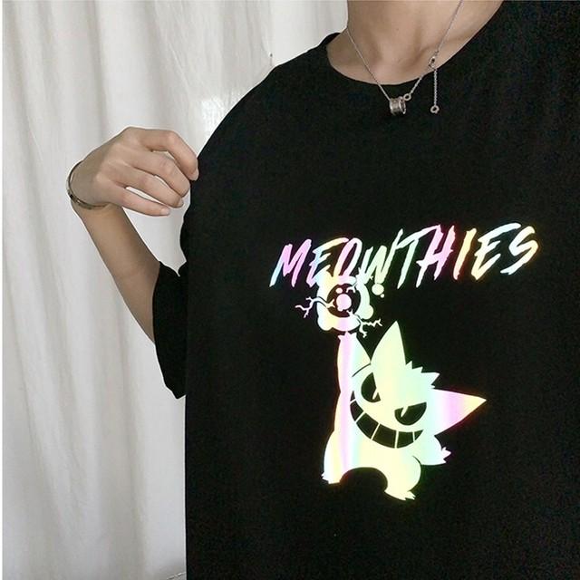 【トップス】プリント悪魔図柄反射半袖キュートストリート系ファッションTシャツ41936406
