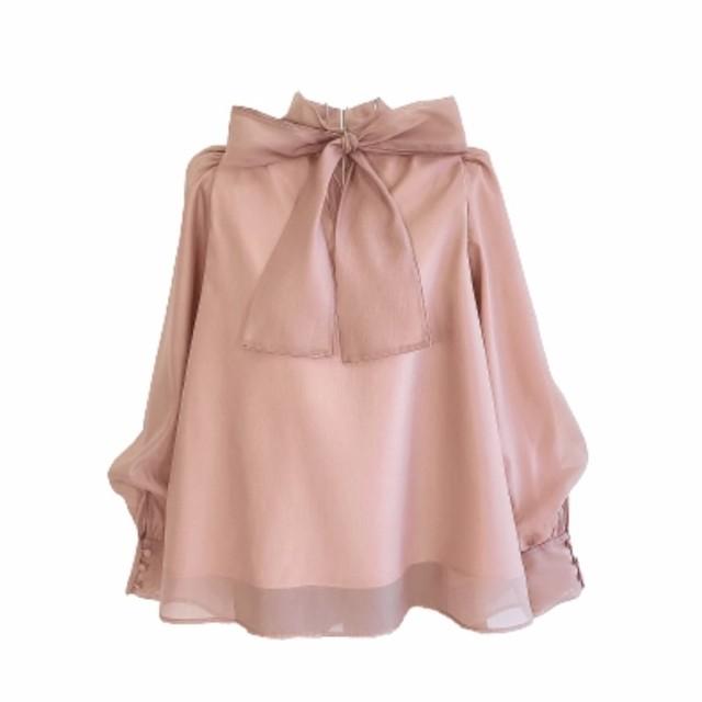 volume tulle tops(Pink beige)